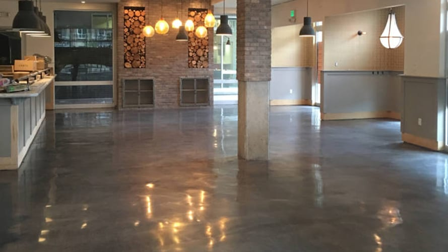 Commercial Polished Concrete With Black Dye